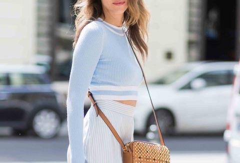 Clothing, White, Street fashion, Fashion, Shoulder, Outerwear, Sweater, Waist, Neck, Dress,