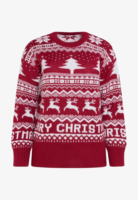 Clothing, Sweater, Sleeve, Outerwear, Reindeer, Red, Long-sleeved t-shirt, Top, Wool, Jersey,