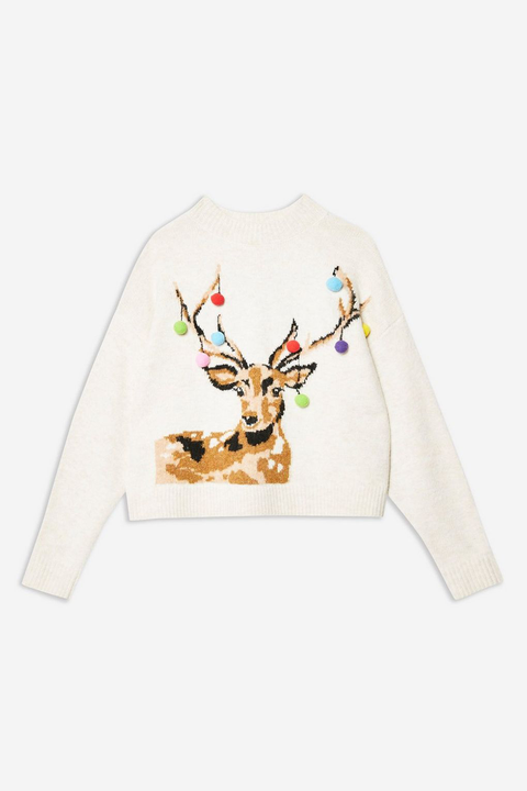 Reindeer, White, Deer, Clothing, Antler, Sleeve, T-shirt, Long-sleeved t-shirt, Top, Outerwear,