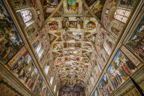 Magnificent interior of the Sistine Chapel, a chapel in the...