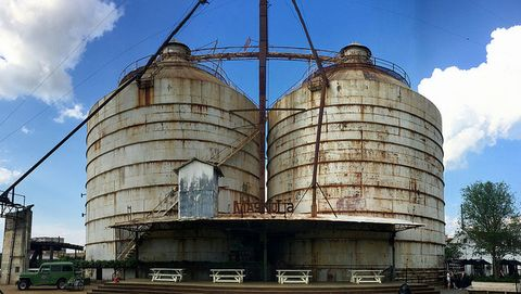 Silo, Architecture, Building, Sky, Industry, Storage tank, Metal,