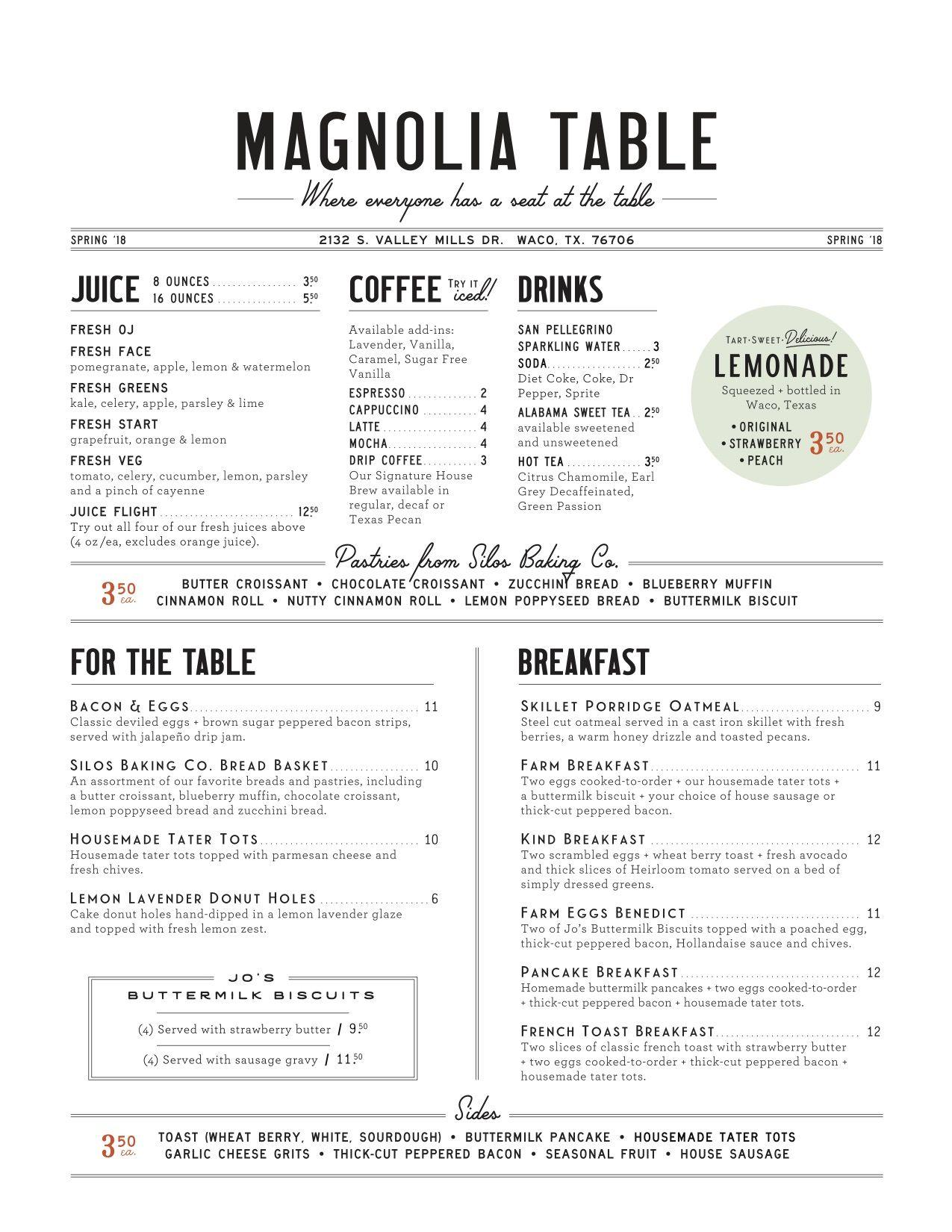 Magnolia Table Breakfast Menu