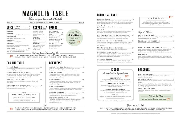 25 magnolia table restaurant details chip and joanna for Table table restaurant menu