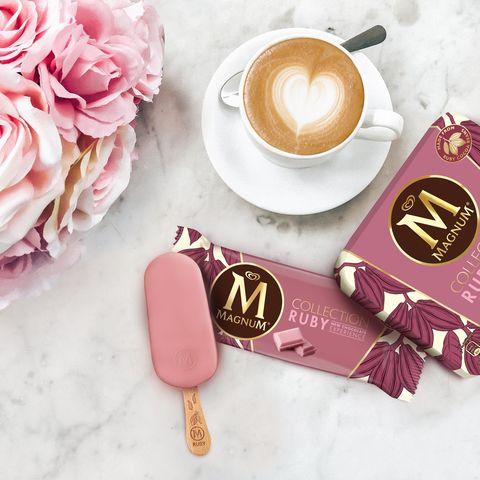 Pink, Cup, Coffee cup, Cup, Food, Sweetness, Teacup, Material property, Spoon, Breakfast,