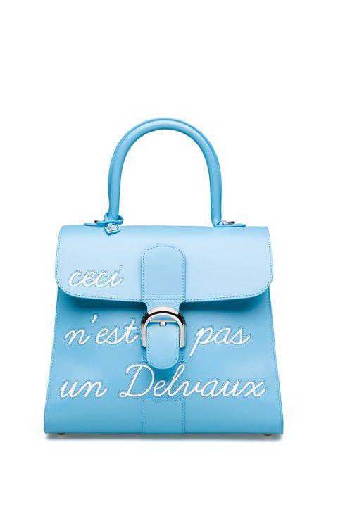 DELVAUXMagritte系列 天堂藍L'Humour中型牛皮肩揹包