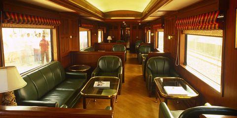 Transport, Room, Passenger car, Building, Vehicle, Train, Interior design, Rolling stock, Railroad car, Public transport,
