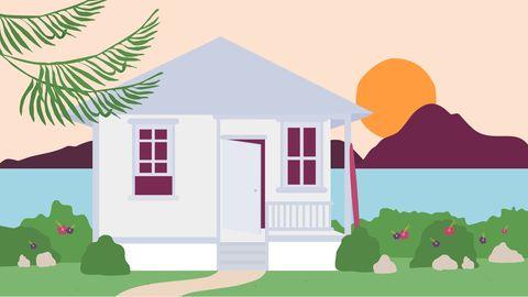 House, Home, Illustration, Green, Property, Cartoon, Pink, Real estate, Building, Clip art,