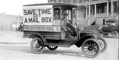 Mail Wagon, US Postal Service, USA, circa 1916