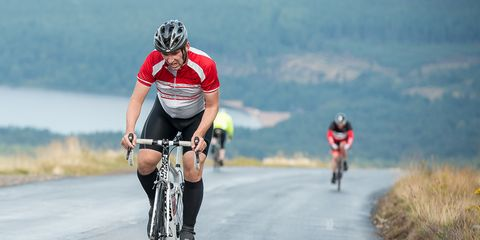 A climbing cyclist.