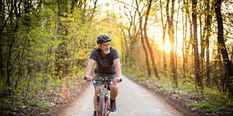 An older cyclist.