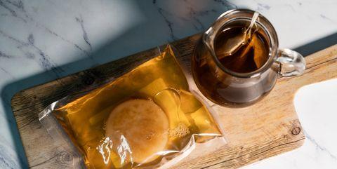 Main ingredients to make homemade kombucha, te and scoby