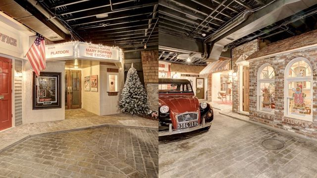main street in basement that cobble stone roads and christmas decor