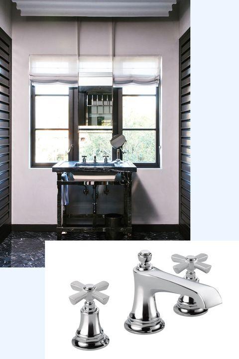 Room, Furniture, Interior design, Table, Tap, Material property, Sink, Bathroom, Bathroom sink, Window,