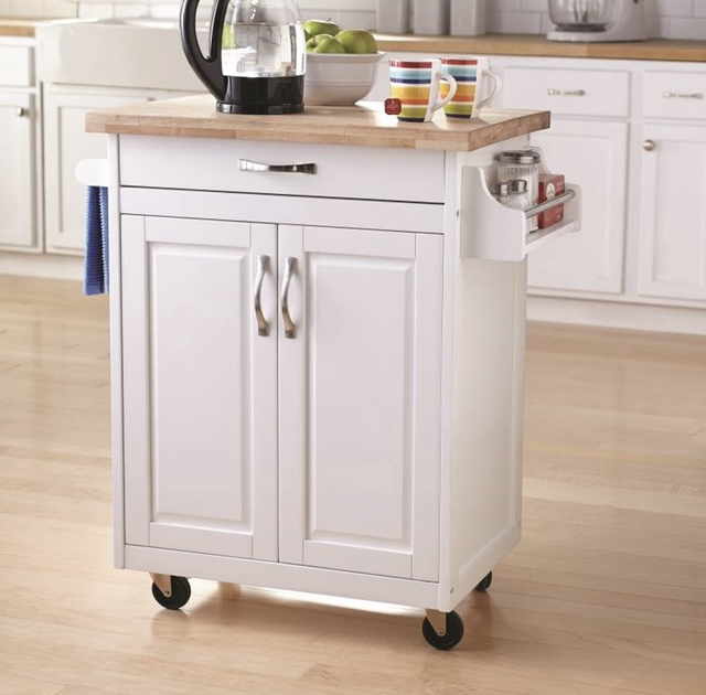 white kitchen island cart with wood top