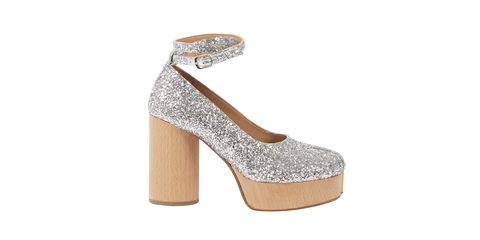 Footwear, High heels, Sandal, Shoe, Basic pump, Glitter, Silver, Beige, Court shoe, Bridal shoe,