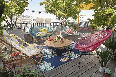 tumbona, hamaca, mesa, alfombra, sofá, cojín, exterior, terraza
