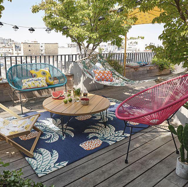 terraza, fiesta, decoracón, alfombra, tumbona, sofá, silla, alfombra