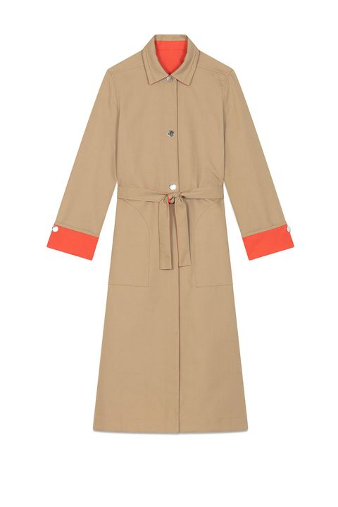 reversible camel coat - camel trench coat with orange lining