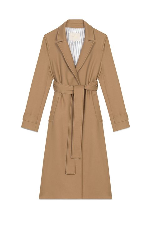Maje classic camel coat with belt waist