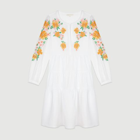 Clothing, White, Sleeve, Yellow, Dress, Day dress, Outerwear, Textile, Blouse, Pattern,