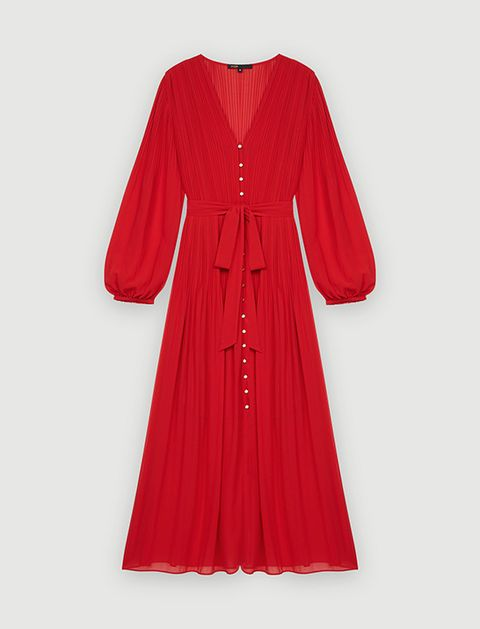 maje red dress with bow waist detail