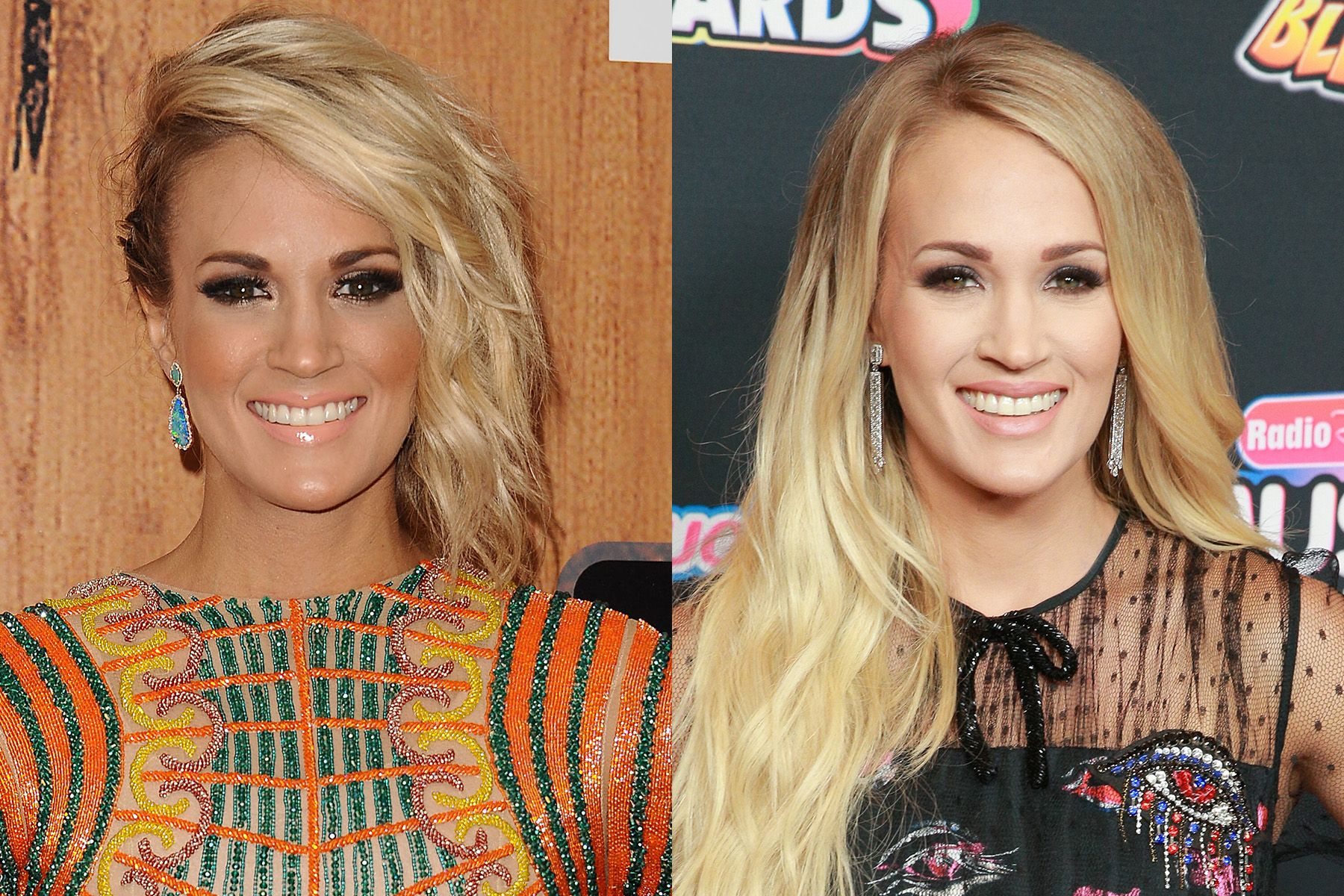 Carrie Underwood The American Idol alum and country music superstar still loves her blonde hair and smokey eyes, but she's noticeably toned down her tanning over the years, which we thinks makes her look young and fresh-faced.