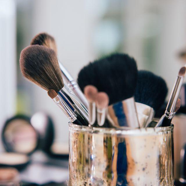 make up brushes in artist studio