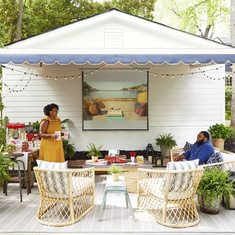 victoria and marcus ford in outdoor movie area