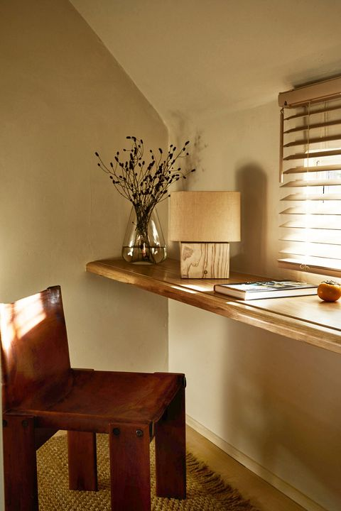 small floating desk by window