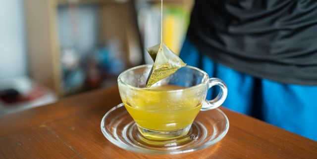 making a cup of green tea