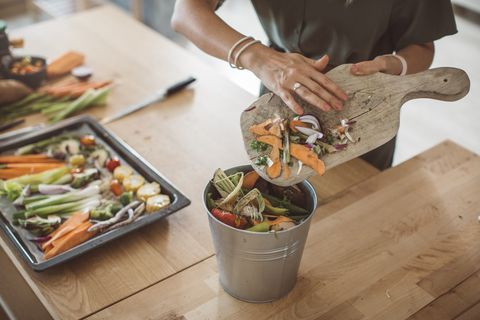 making compost from vegetable leftovers