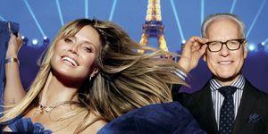 Heidi Klum en Tim Gunn poseren voor de Eiffeltoren, voor het programma 'Making the cut'.