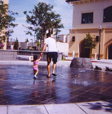 Fountain, Water, Public space, Pink, Fun, Water feature, Summer, Vacation, Evening, Leisure,