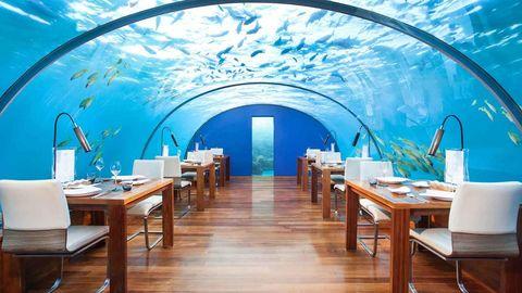 Restaurant, Arch, Room, Architecture, Building, Interior design, Business, Table, Organization, Underwater,