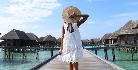 Photograph, Sky, Vacation, Beauty, Sun hat, Summer, Fun, Tourism, Shoulder, Sea,