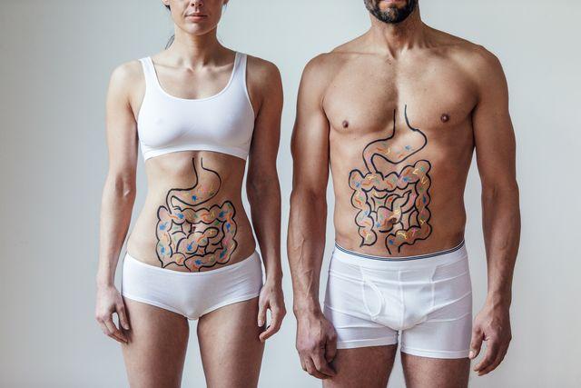male and female intestinal health concept