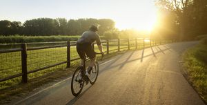 Male athlete cycling on road by field during sunny day