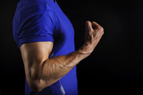 Arm, Shoulder, Blue, Elbow, Muscle, Hand, Joint, Human body, Wrist, Physical fitness,