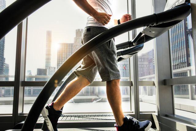 male athlete running on treadmill