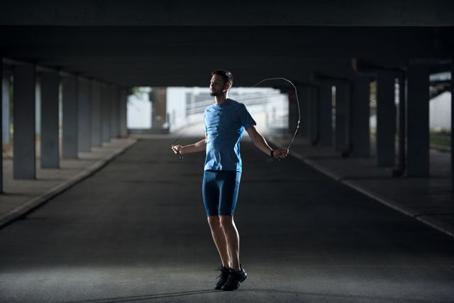 male athlete skipping jump rope