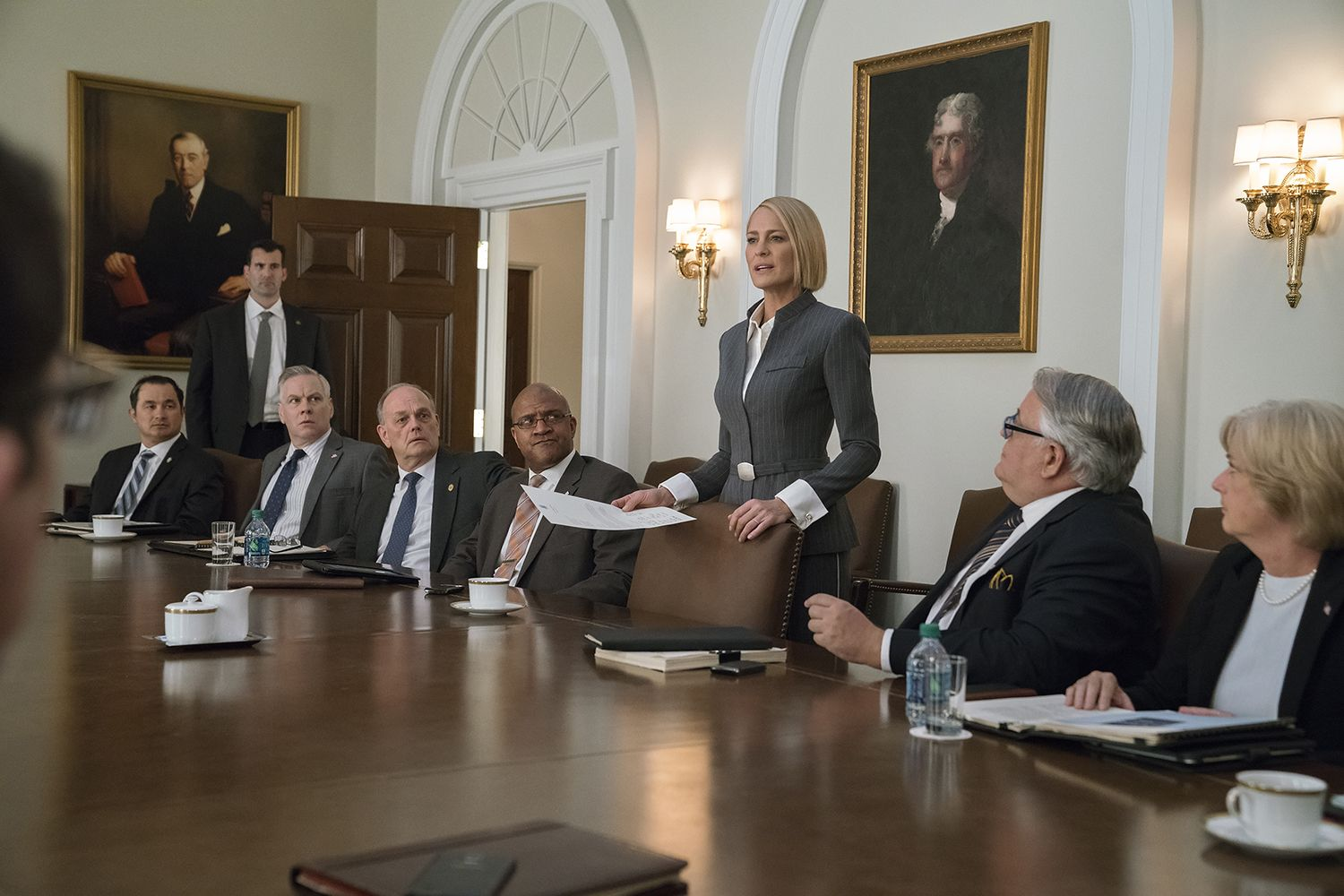 Claire Underwood and her cabinet in House of Cards
