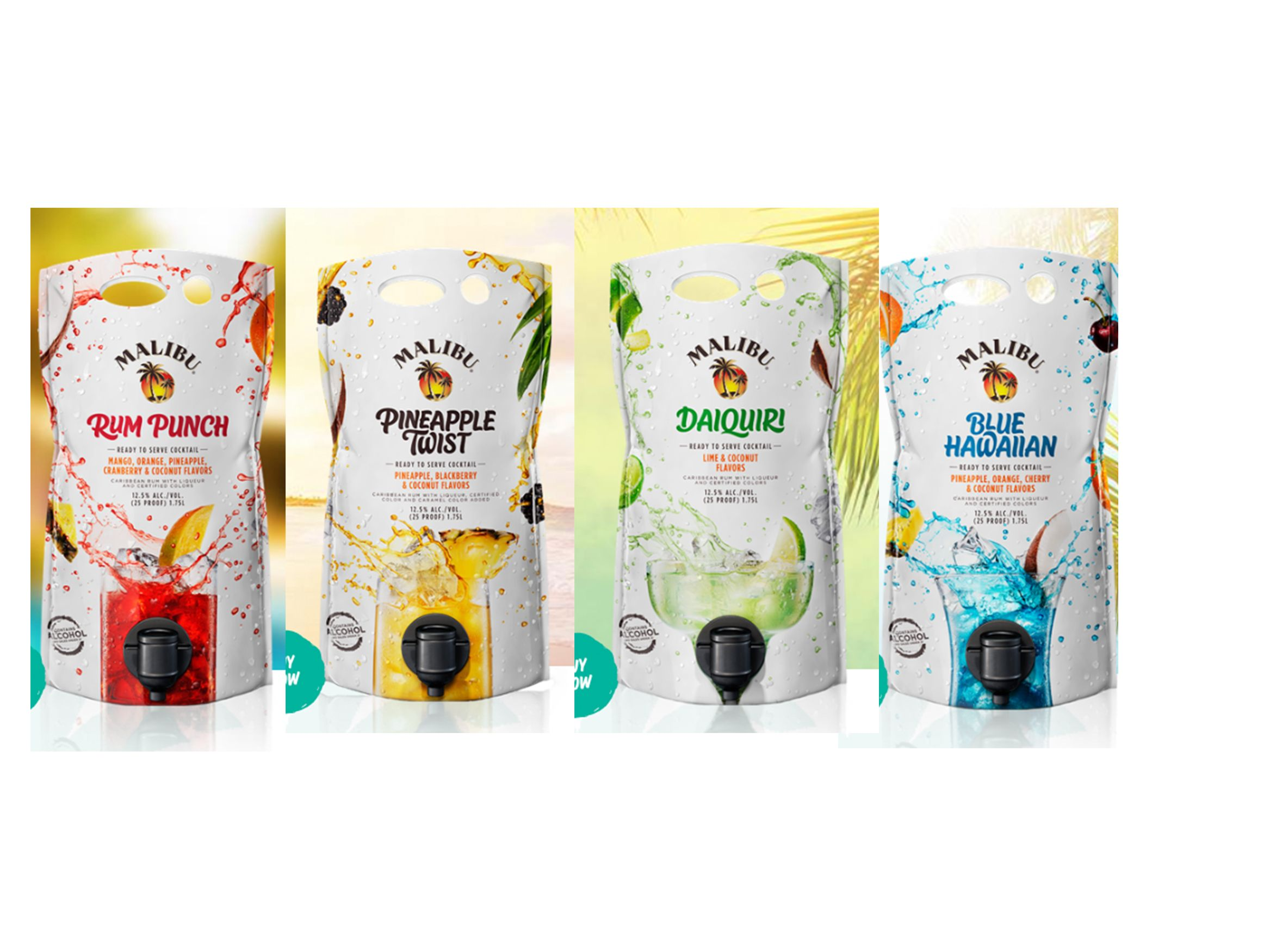 Malibu Rum's 60-Ounce Cocktail Pouches Come In Four Boozy Flavors