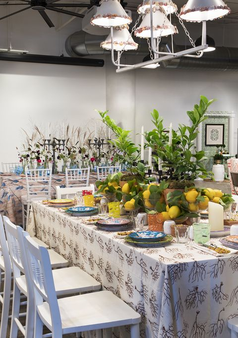 Yellow, Table, Rehearsal dinner, Brunch, Room, Furniture, Interior design, Branch, Design, Floristry,