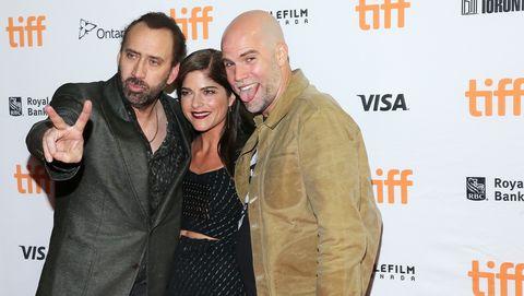 Brian Taylor nicolas cage selma blair en el estreno en Toronto de 'mamá y papá