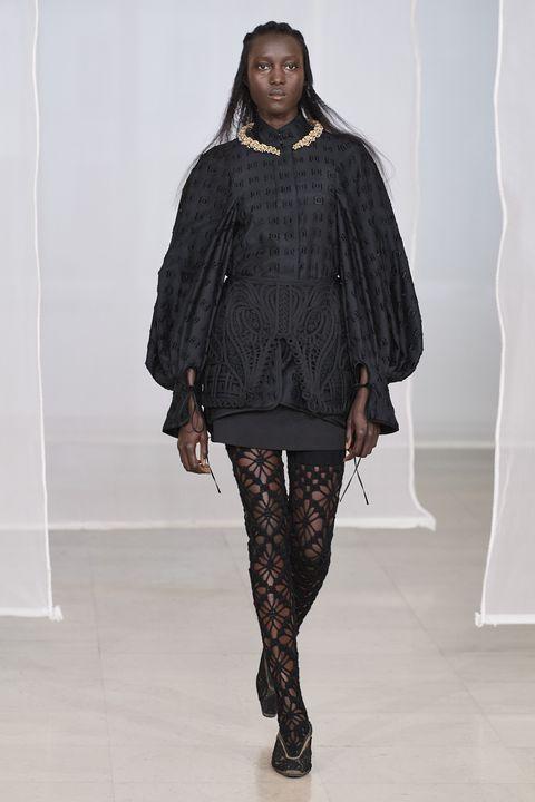 Fashion, Fashion show, Runway, Clothing, Fashion model, Outerwear, Leggings, Human, Tights, Footwear,