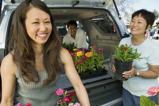 man and women loading plants