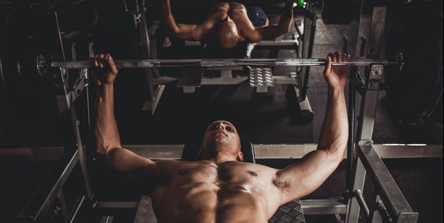 man bench press exercising