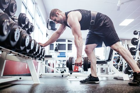 Man Bodybuilding in Gym
