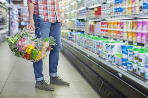 Man with shopping basket in supermarket