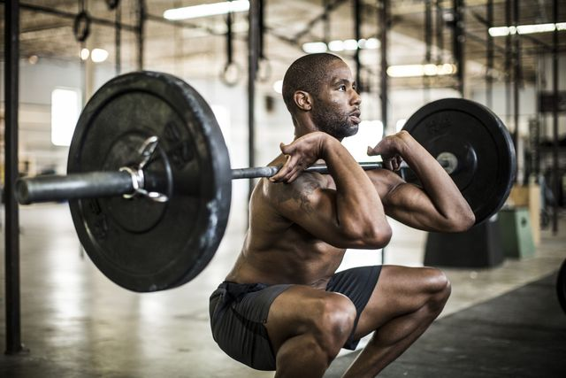 man doing gym front squat